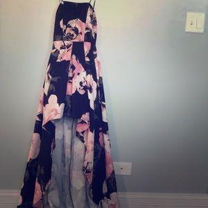 Strapless floral print dress (adherable straps)